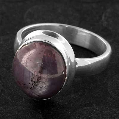 Silver and Star Ruby Ring