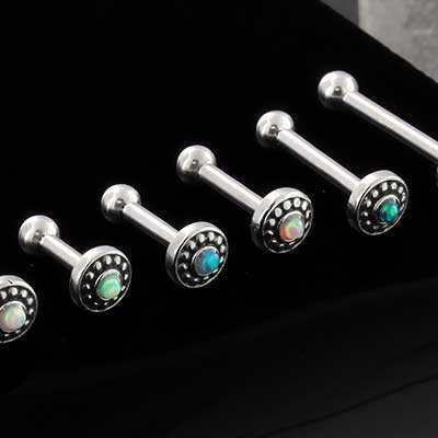 Synthetic Opal Saucer Barbell