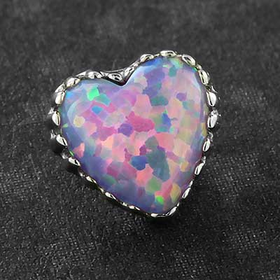 18k Gold Heart Opal Threaded End