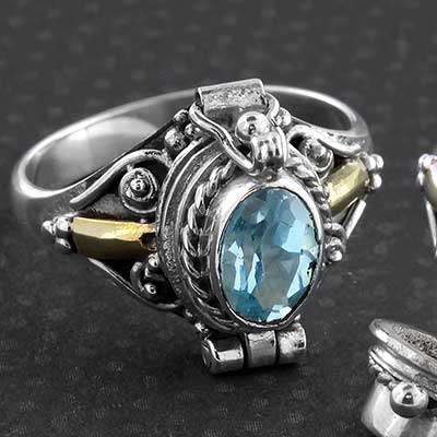 Silver and Blue Topaz Poison Ring