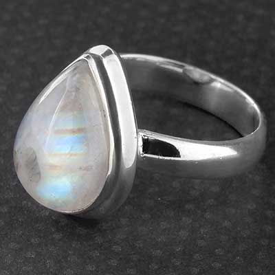 Silver and Rainbow Moonstone Ring