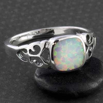Silver and Synthetic White Opal Ring