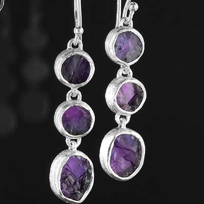 Silver Triple Amethyst Earrings