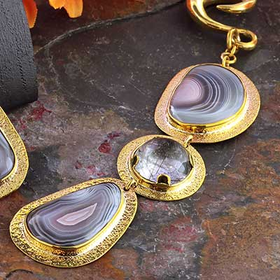 Solid Brass and Botswana Agate Weights