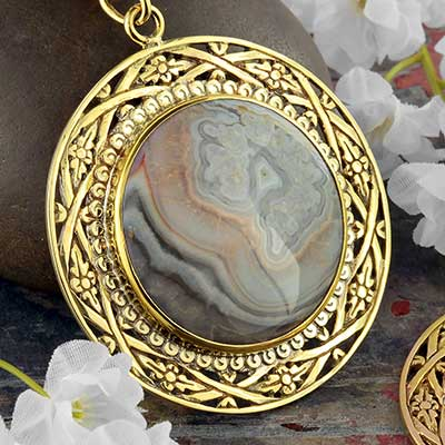 Solid Brass and Ocean Jasper Medallion Weights