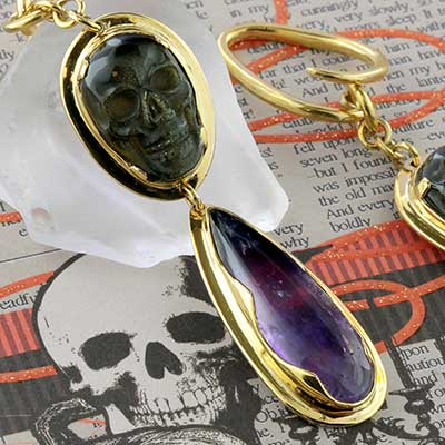 Solid Brass and Golden Obsidian Skull Dangle Weights