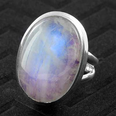 Silver and Purple Moonstone Ring