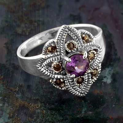 Silver and Purple Topaz Flower Ring