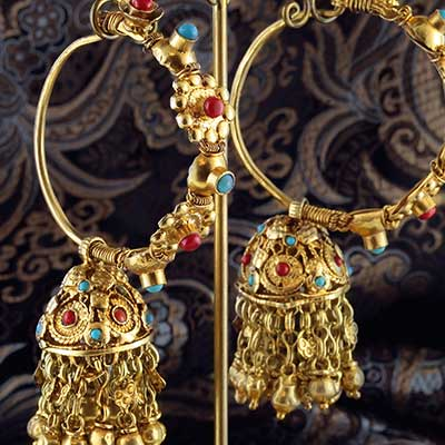 Gold Plated Adorned Hoops