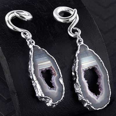 Silver Dipped Geode Slice Weights with Silver Coils