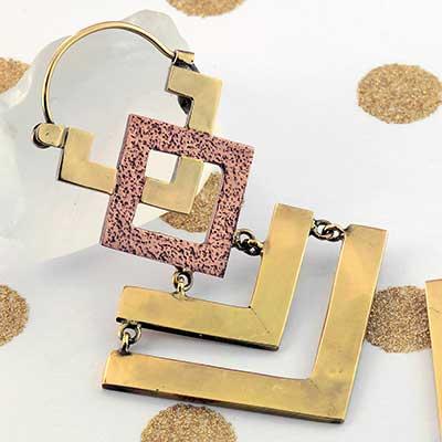 Brass and Copper Geometric Chevron Earrings