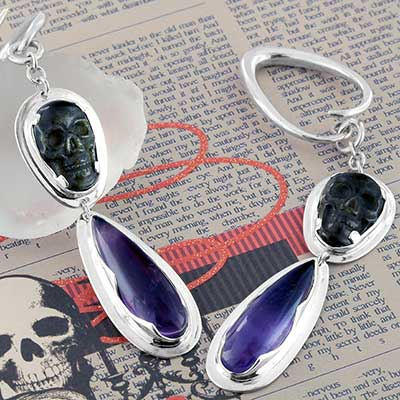Silver and Goldensheen Obsidian Skull Dangle Weights
