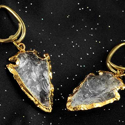 Gold Plated Quartz Arrowheads with Brass Coils