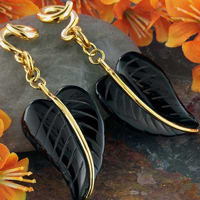 Solid Brass and Black Onyx Leaf Weights