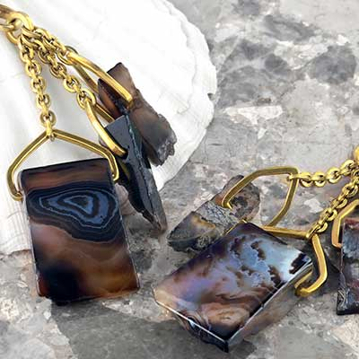 Solid Brass and Tibetan Agate Triplet Weights