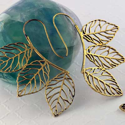 Brass Hanging Leaf Earrings