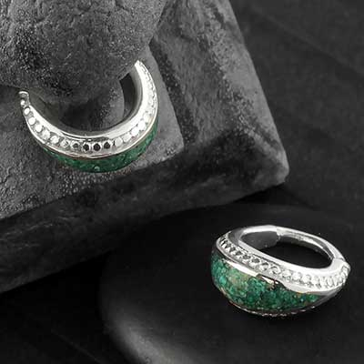 Silver Seamless Ring with Side Set Reconstituted Turquoise