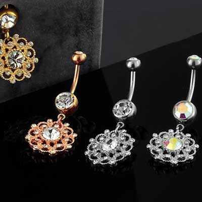 Crystal Paved Flower Dangle Navel