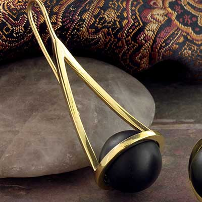 Brass and Black Stone Globe Weights