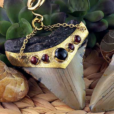 Solid Brass and Megalodon Teeth Weights with Red Tiger's Eye