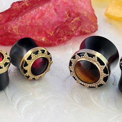 Black Onyx with Brass Sun Plugs