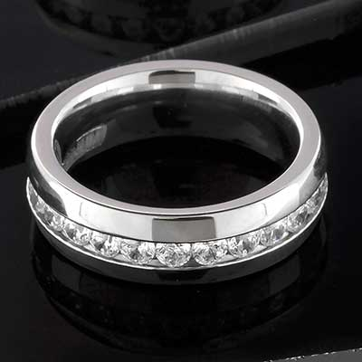 Titanium Channel-Set CZ Ring