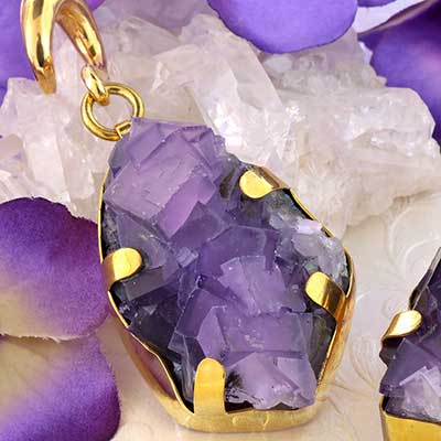 Solid Brass and Chunky Fluorite Druzy Weights