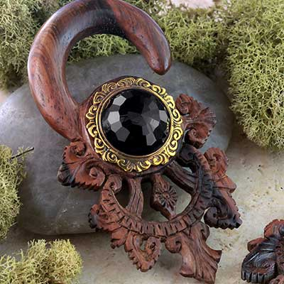 Ebony Wood Tears of Gaia Design with Black Agate