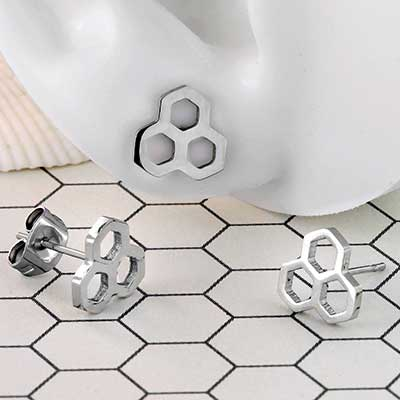 Steel Honeycomb Stud Earrings
