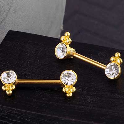 Gold Beaded CZ Nipple Barbell