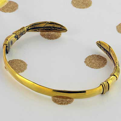 Brass Twin Feather Bracelet