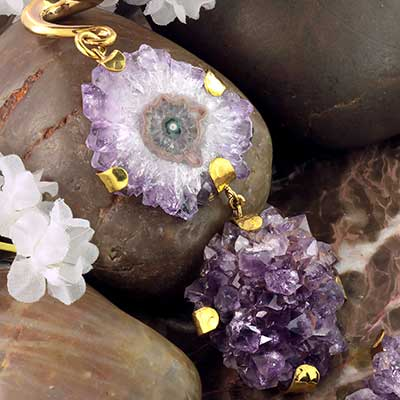 Solid Brass and Double Amethyst Dangle Weights
