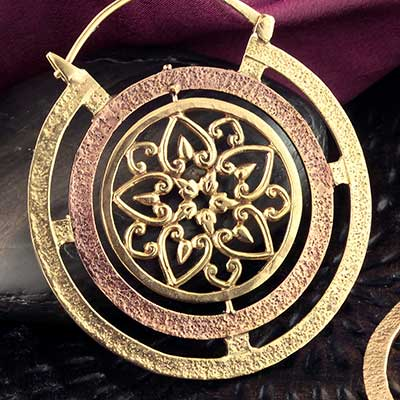 Textured Brass Flower Hoop Design