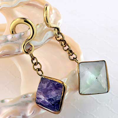 Solid Brass and Fluorite Cube Weights
