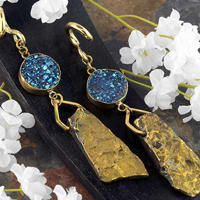 Solid Brass with Druzy and Chalcedony Weights