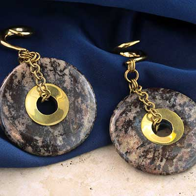 Solid Brass and Porcelain Jasper Disc Weights