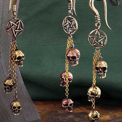 Brass Pentagram with Skulls Weights