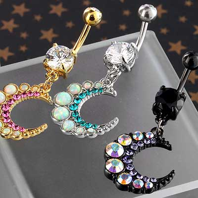 Sparkle Crescent Moon Dangle Navel