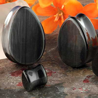 Black Cat Eye Teardrop Plug