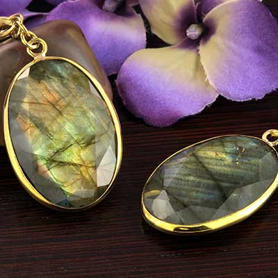 Solid Brass and Oval Faceted Labradorite Weights