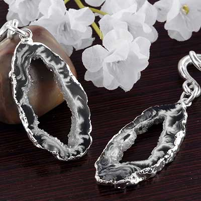 Silver and Electroplated Geode Slice Weights