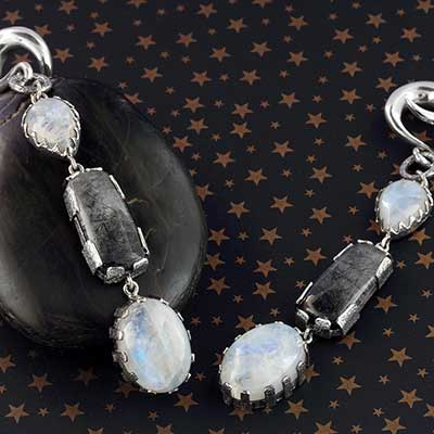 Silver and Rainbow Moonstone with Tourmalated Quartz Weights