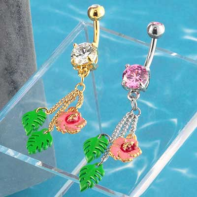 Hawaiian Flower Dangle Navel