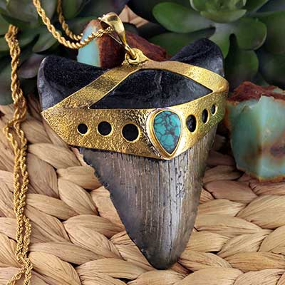 Megalodon Tooth Necklace with Turquoise