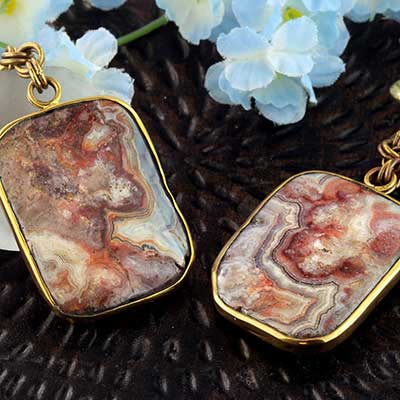 Solid Brass and Crazy Lace Agate Weights