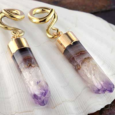 Solid Brass and Amethyst Cylinder Weights