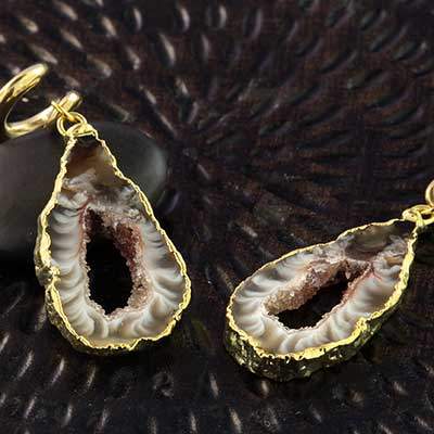 Gold Dipped Geode Slice Weights with Brass Coils
