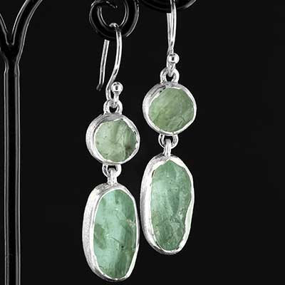 Silver Double Aquamarine Earrings