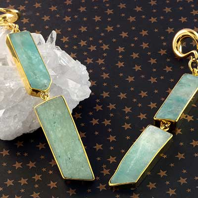 Solid Brass and Free Form Amazonite Weights