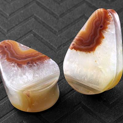 Orange Plume Agate Teardrop Plugs